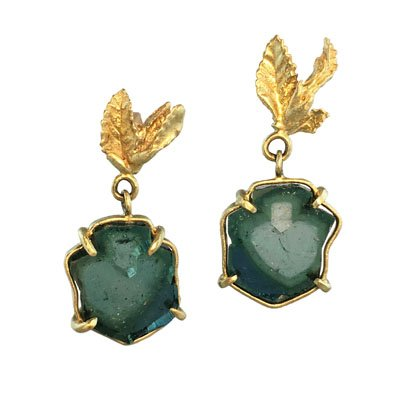 Judi Powers emerald and gold earrings