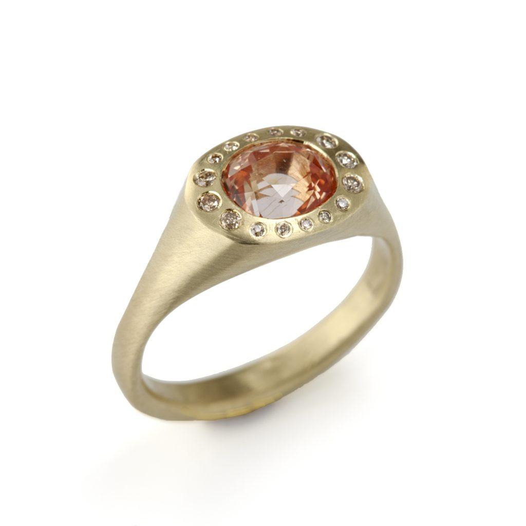 Judi Powers peach sapphire and diamond ring