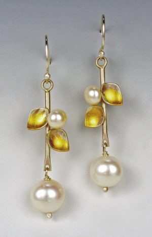 Judith Neugebauer pearl and gold earrings