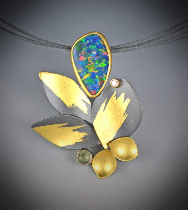 Judith Neugebauer - opal peridot diamond necklace