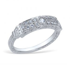 Enjoy vintage-style wedding and engagement rings with our Whitehouse Brothers jewelry at Robert Goodman Jewelers.