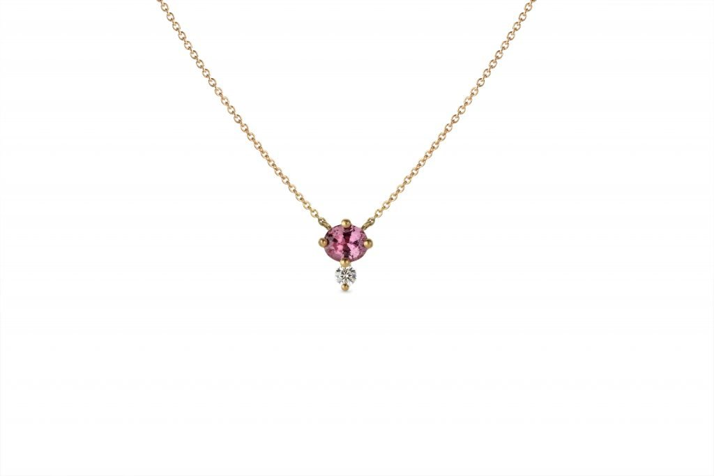 Gold, ruby, and diamond pendant