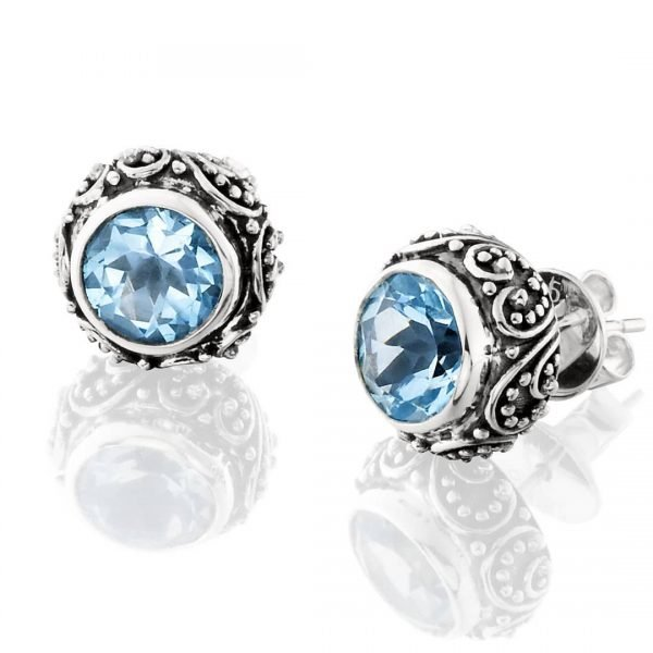 blue, silver, and black post earrings