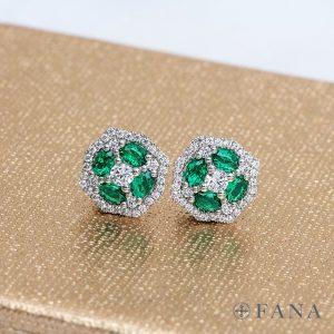 diamond and emerald Fana earrings