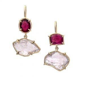 gold, ruby, and pink earrings