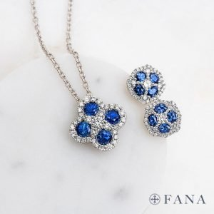 diamond and sapphire Fana earrings and pendant