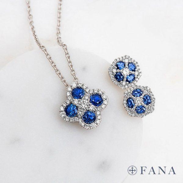 diamond and sapphire Fana earrings and pendant