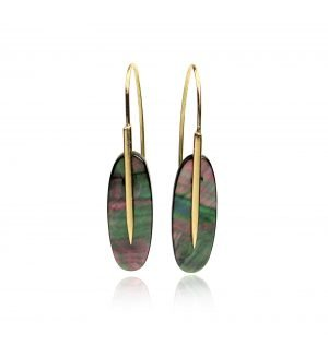 gold, green, and red earrings