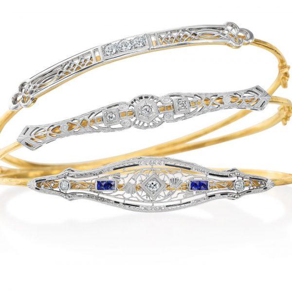 gold, silver, and blue bracelets