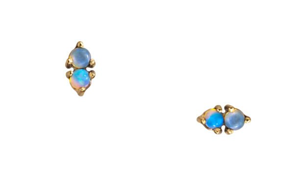 WWAKE Two-Step Blue and Gold Earrings