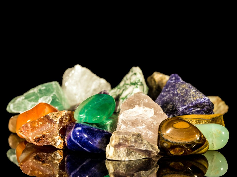 gemstones on a black background