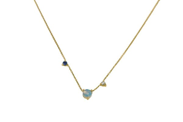 WWAKE Three-Step Blue and Gold Necklace