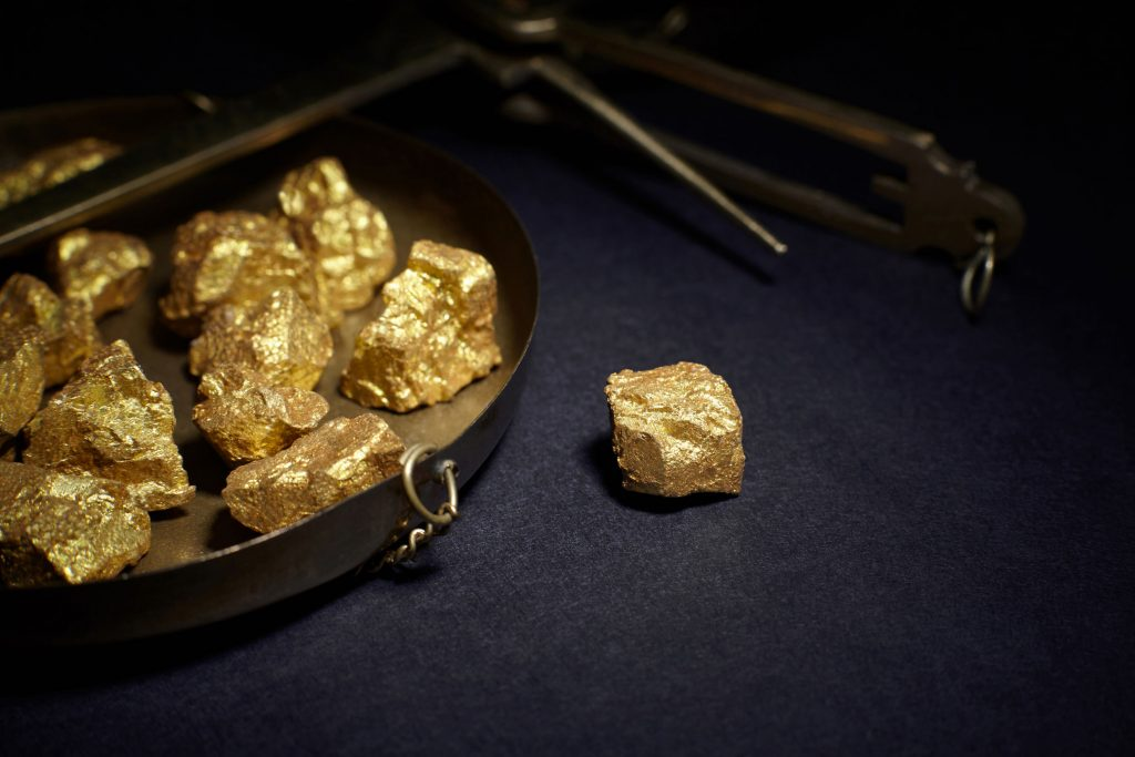 gold nuggets and copper scales