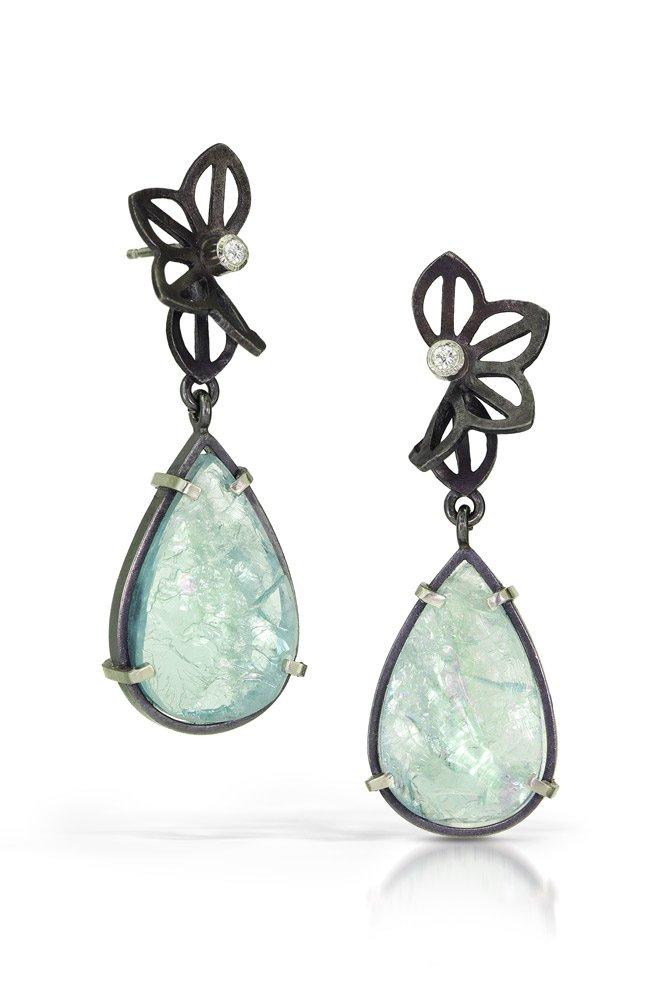Karin Jacobson Aqua and Anise Earrings