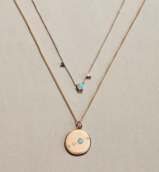 WWAKE Gold and Blue Necklace