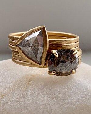 Petite Baleine Corduroy Rustic Diamond Solitaire Rings
