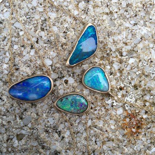 Petite Baleine Gold-Framed Australian Opal Necklaces